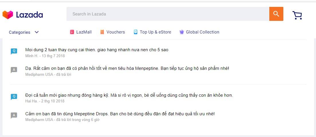 Đánh giá Menpeptine của người dùng trên Lazada