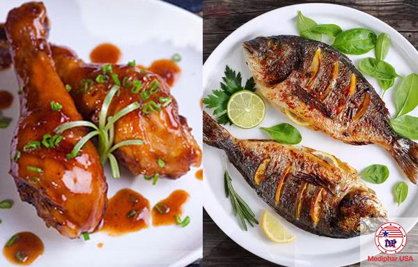 Thịt trắng và đạm thực vật giúp giảm thêm gánh nặng cho hệ tiêu hóa nhưng vẫn đủ dinh dưỡng cho cơ thể