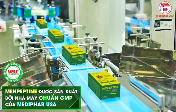 Menpeptine được sản xuất bởi nhà máy đạt chuẩn GMP (Thực hành sản xuất tốt)